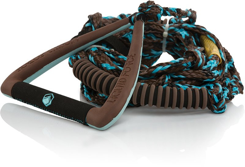 "LIQUID FORCE 9"" ULTRA SUEDE DLX SURF HANDLE WITH ROPE - BROWN"