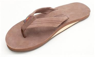 RAINBOW PREMIER LEATHER SINGLE LAYER MENS SANDALS - EXPRESSO