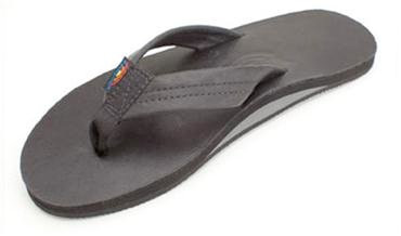 RAINBOW CLASSIC LEATHER SINGLE LAYER MENS SANDALS - BLACK
