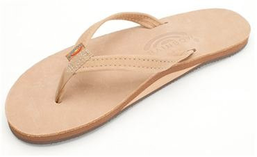 RAINBOW PREMIER LEATHER NARROW STRAP SINGLE LAYER WOMENS SANDALS - SIERRA BROWN