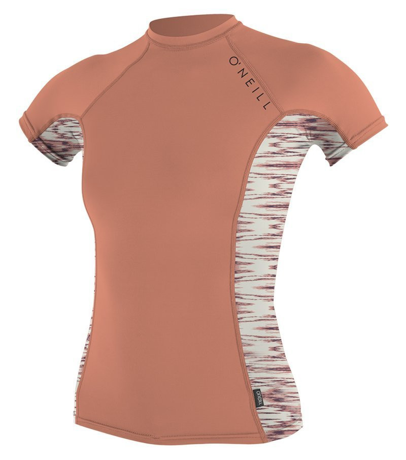 O'NEILL 2016 WOMENS SIDE PRINT SHORT SLEEVE CREW - GRAPEFRUIT