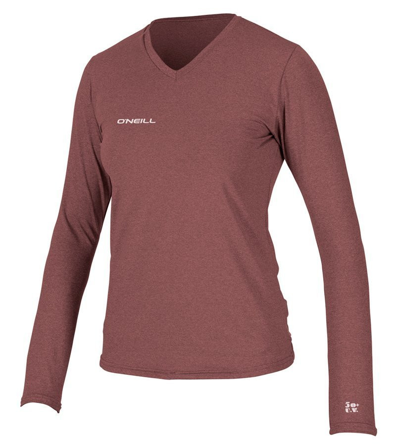 O'NEILL WOMENS HYBRID LONG SLEEVE V-NECK - HEATHER BURGUNDY