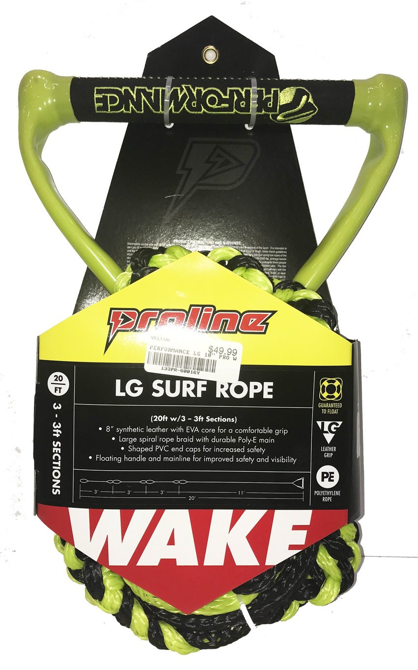 "PERFORMANCE LG PRO 10"" SURF ROPE W/ 3-3FT SECTIONS- YELLOW"