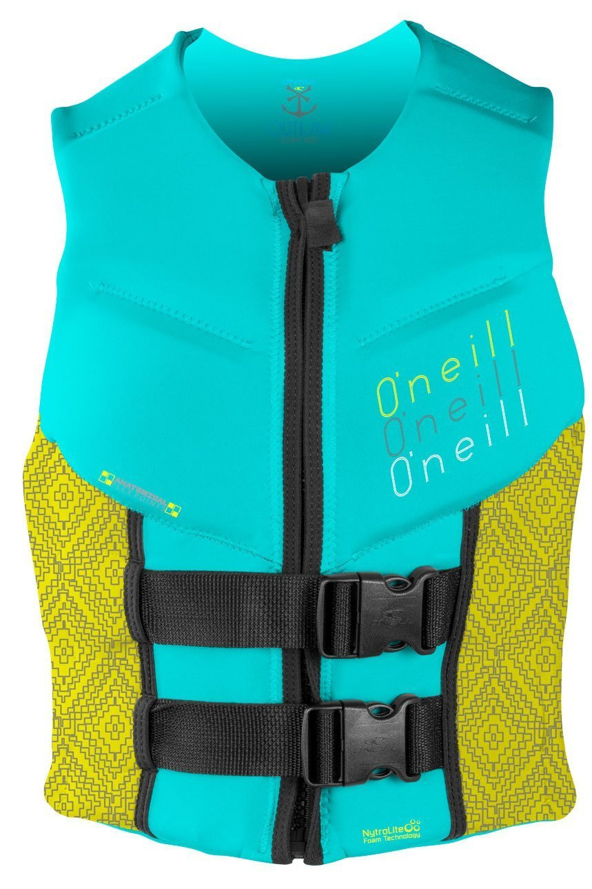 O'NEILL 2016 WOMENS OUTLAW COMPETITION VEST - AQUA/YELLOW